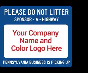Pennsylvania Sponsor-A-Highway Apopt-A-Highway Sponsor Sign