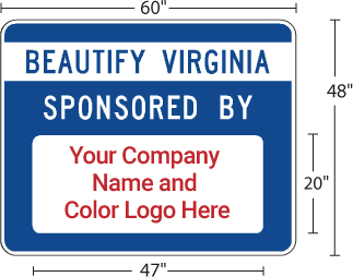 Beautify Virginia Program Apopt-A-Highway Sponsor Sign