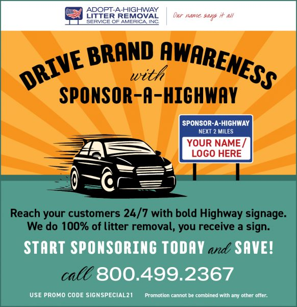 Drive Brand Awareness with Sponsor A Highway Sign Special
